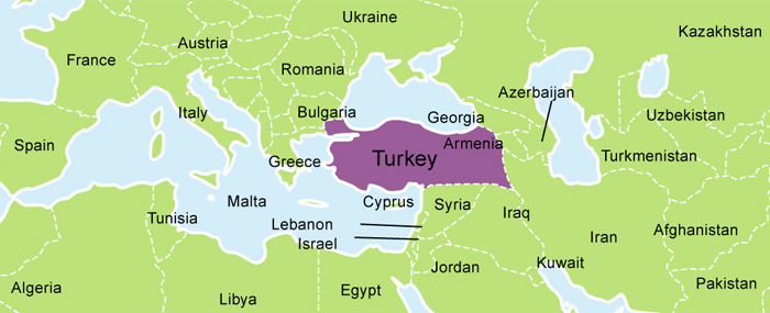 Map of midde east with Turkey
