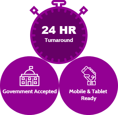 24 HR turn around - government accepted - mobile ready