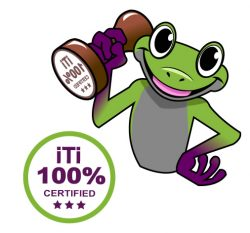 "ITI Mascot Terpii showing off our ""100% Certified"" Quality Assurance Stamp"
