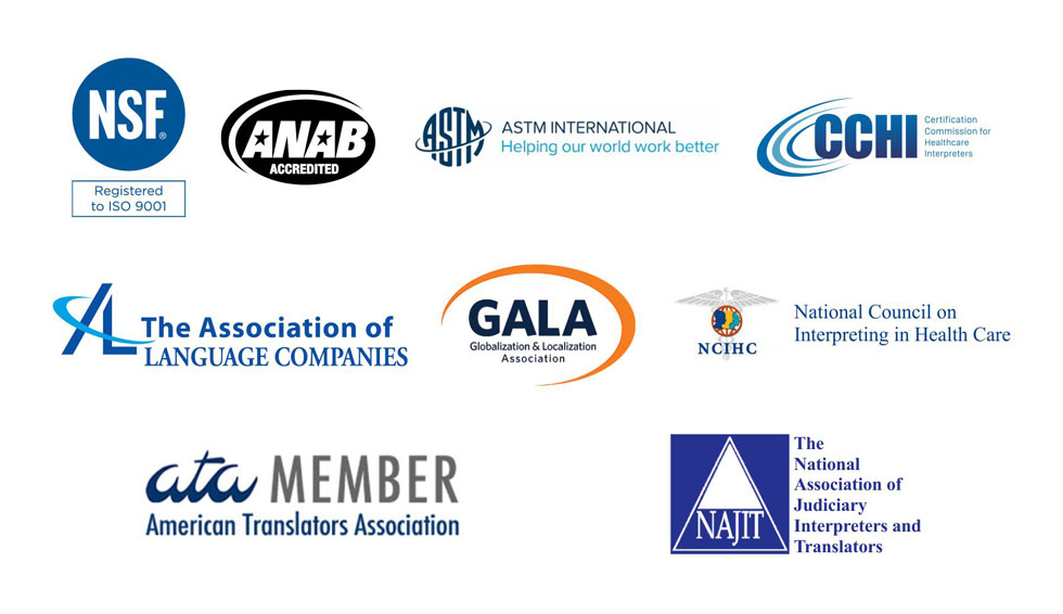 logos of iTi alliances (NSF, ANAB Accredited, ASTM International, CCHI, The Association of Language Companies, Globalization & Localization Association, National Council on Interpreting in Health Care, American Translators Association, NAJIT)