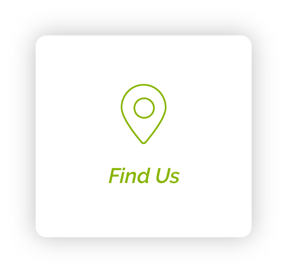 pin drop icon with text saying find us