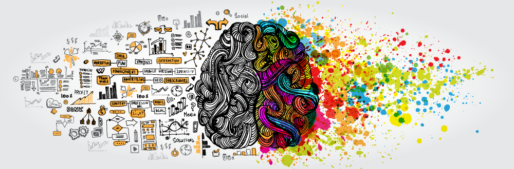 SEO Translation brain graphic. Left side seo structure, right side creativity